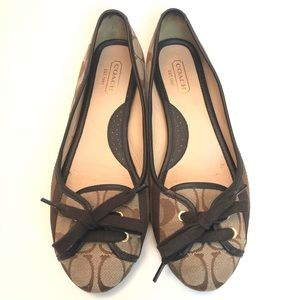 COACH | Janelle Lace Up Signature C's Ballet Flats